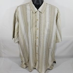 TOMMY BAHAMA BUTTON DOWN SHIRT BEIGE STRIPED